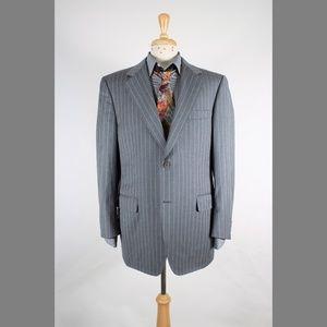 #Canali 54/42L Gray Stripe Wool 2B Sport Coat 72-4
